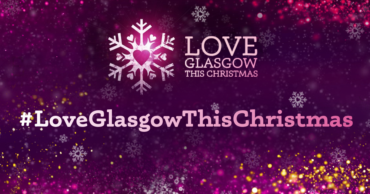 Love Glasgow This Christmas logo with snowflake of purple background
