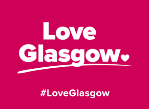 Pink background with Love Glasgow written in white text across the middle of picture. Hashtag Love Glasgow written below.
